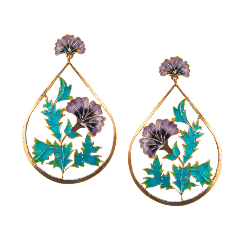 Encased Violet Floral Earrings