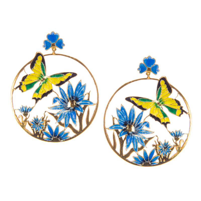 Royal Blue Soaring Butterfly Earrings