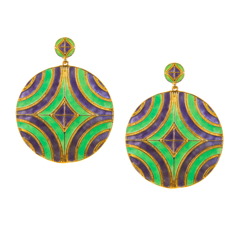 Marti Gras Enamel Geometric Earrings