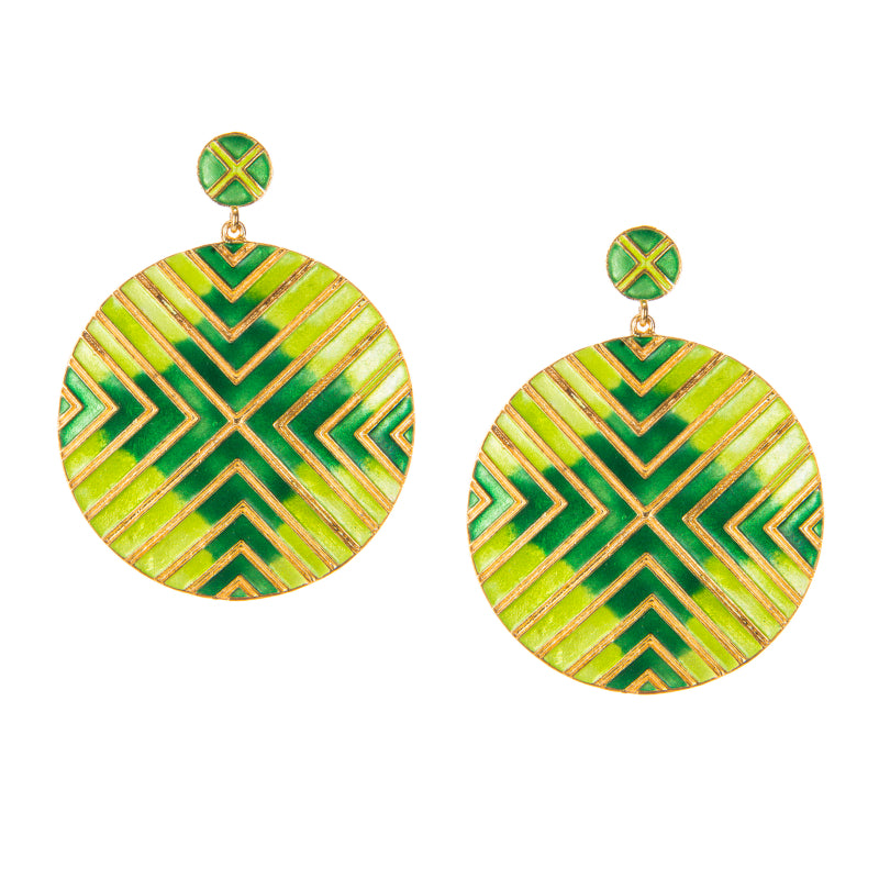 Green Enamel Abstract Disc Earrings