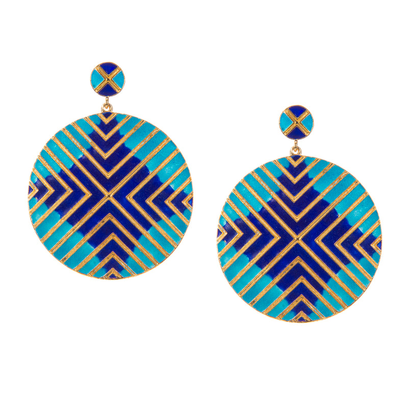 Madagascar Enamel Abstract Disc Earrings