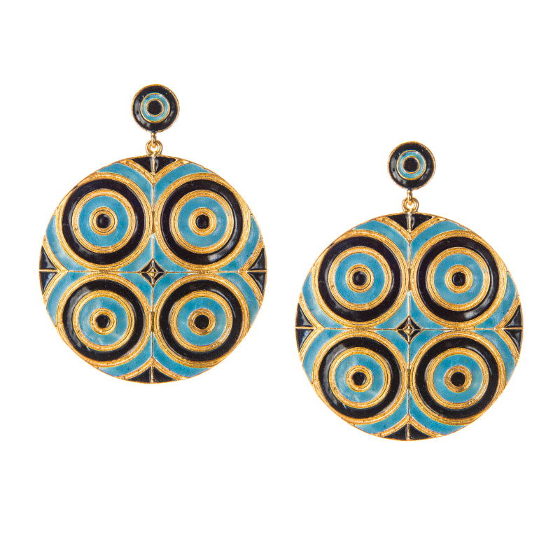 Celeste Enamel Swirl Disc Earrings