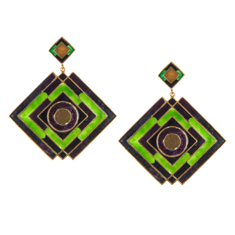 Green Envy Enamel Diamond Shaped Earrings