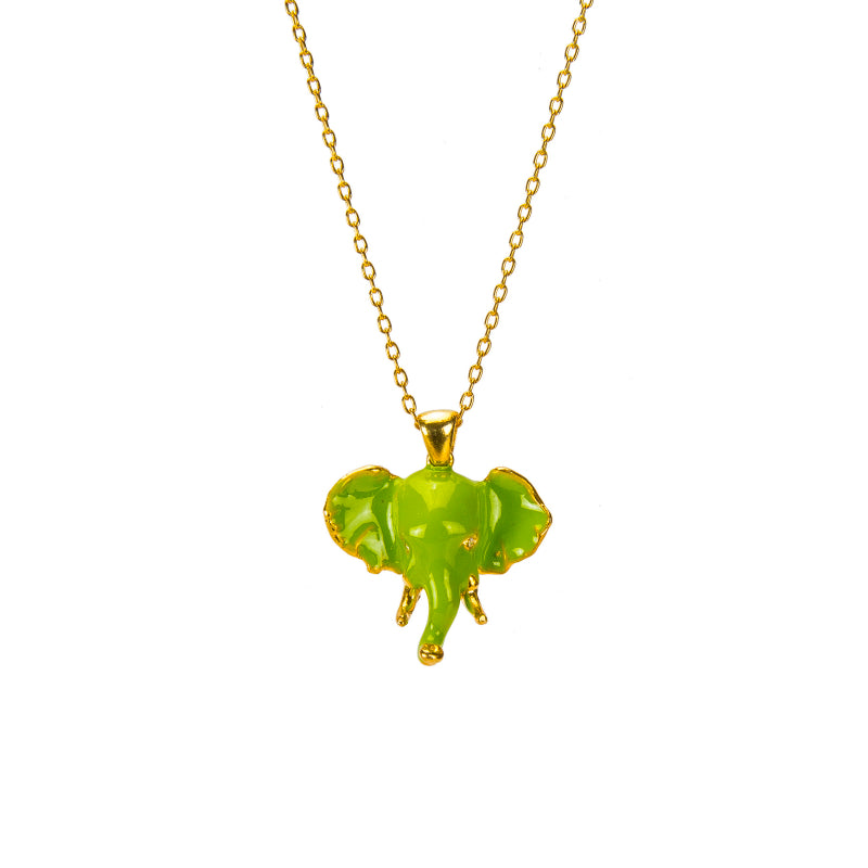 Green Elephant Pendant Necklace