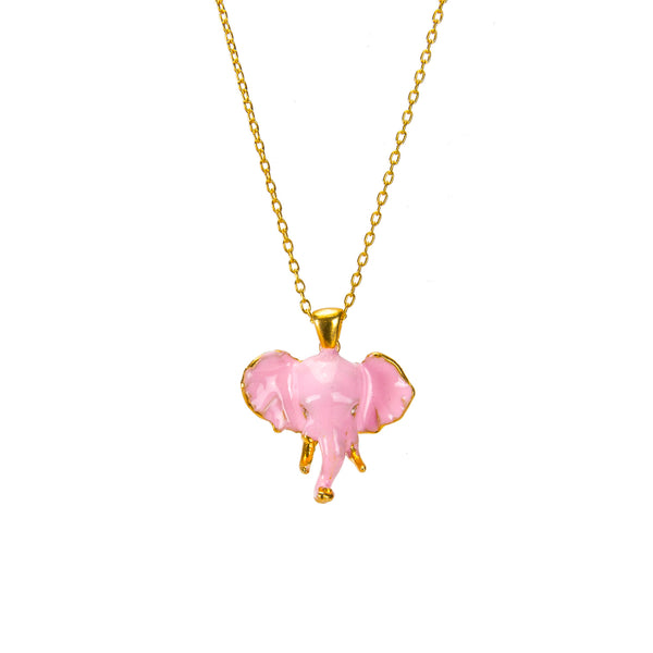 Pink Elephant Pendant Necklace