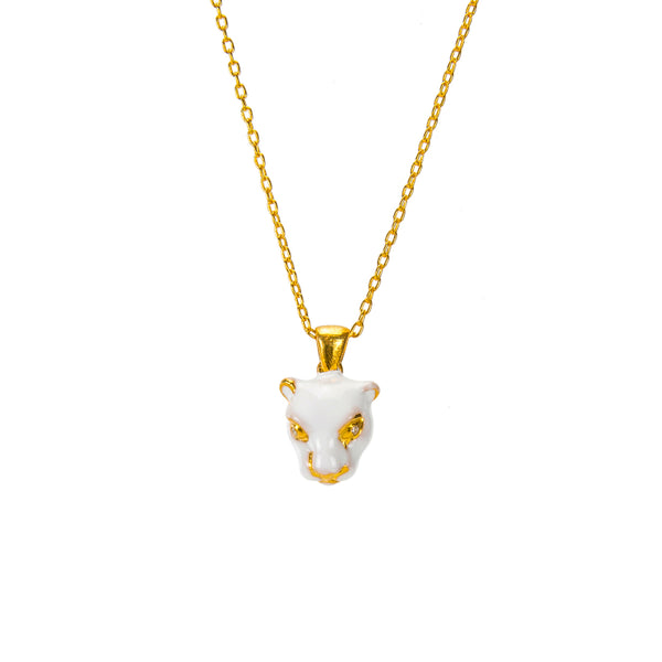 White Panther Pendant Necklace