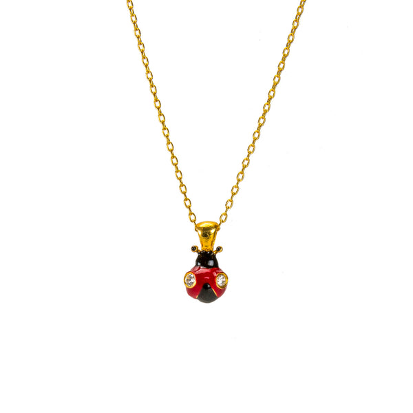 Delicate Red Lady-Bug Pendant Necklace