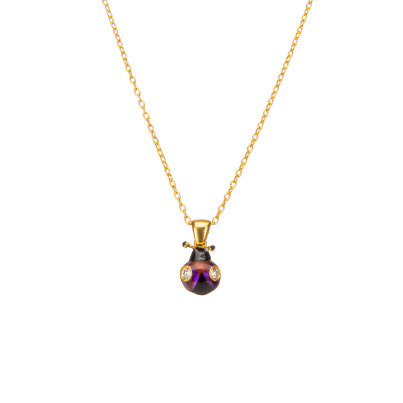 Delicate Violet Lady-Bug Pendant Necklace