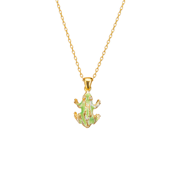 Delicate Green Frog Pendant Necklace