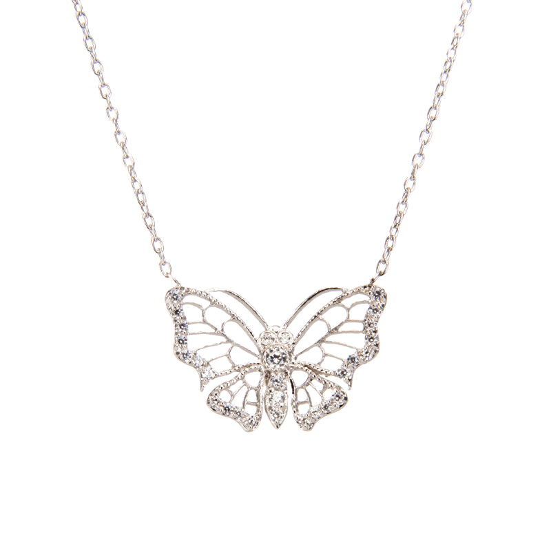 Silver Butterfly Dream Pendant Necklace