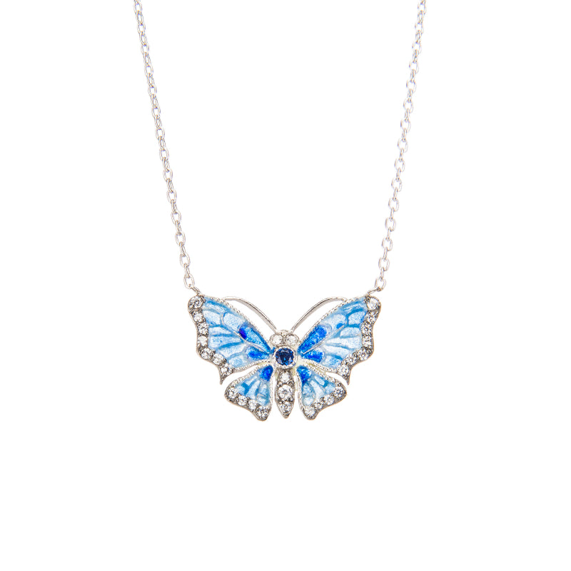 Dazzling Blue Butterfly Pendant Necklace