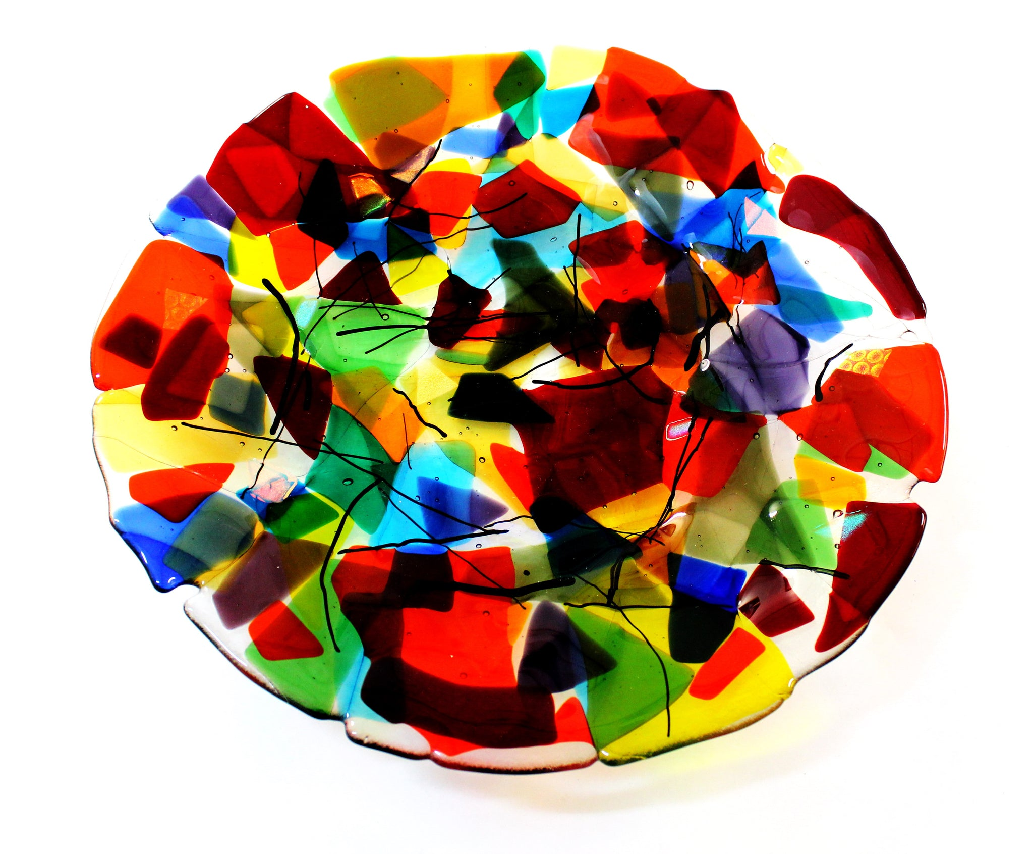 "Fused Platter, multi coloured 13-3/4"" dia"