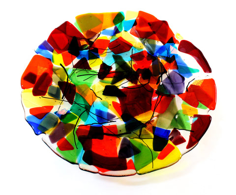 Fused Platter, multi coloured