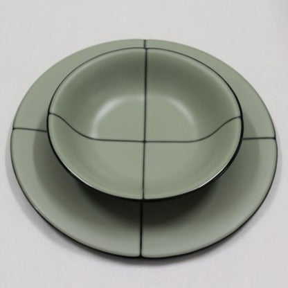 Fused Glass Plate and Bowl Set - Green
