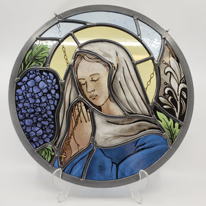 Praying Virgin Mary - painted and leaded stained glass