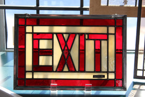 "Stained Glass Exit 9-1/2""x 14"""