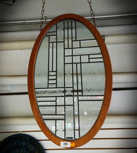 "Framed Leaded Panel, Oval bevel/glue-chip 32-3/4""x 20"""
