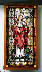 Painted St. John with wooden lightbox 50'' x 26''