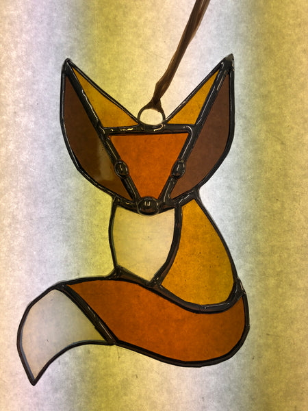 Fox Stained Glass Suncatcher 5'' x 3-1/2''