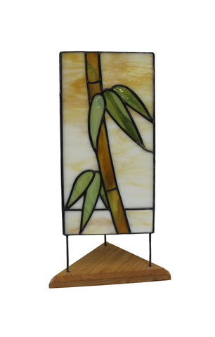 "Stained Glass Bamboo Panel Lamp 13-3/4""x 8"""