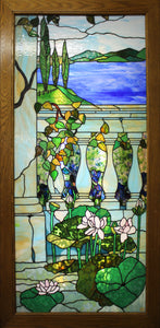 "Tiffany panel with wooden lightbox 57""x 29-3/4"""