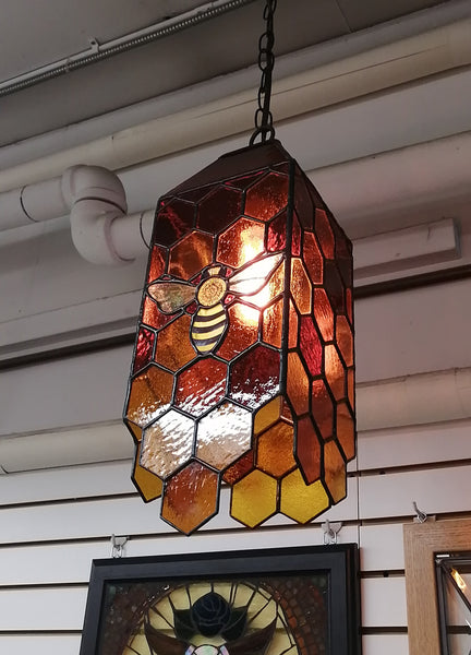 Stained Glass Hanging Honeycomb/Beehive Lantern 6'' x 6'' x 17''