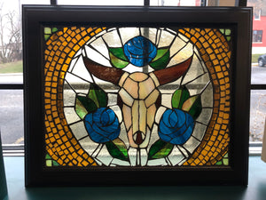 "Framed Bull Grouted Mosaic 19""x 15-1/4"""