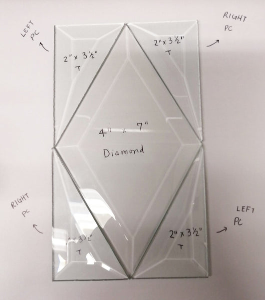 2″ X 3-1/2″ Clear Quarter Diamond Bevel (Left and Right)