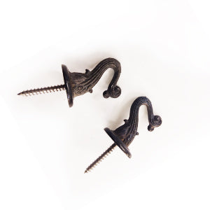 Ceiling Hooks, Swag Hooks with screw (Black, Antique and Bright Brass)