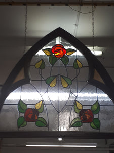 "Framed Leaded Arch, Mackintosh rose 42-1/2""x 47"""