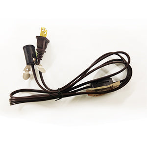 Cord 8ft Brown with Inline Switch and Socket- Fan Lamp Electrical