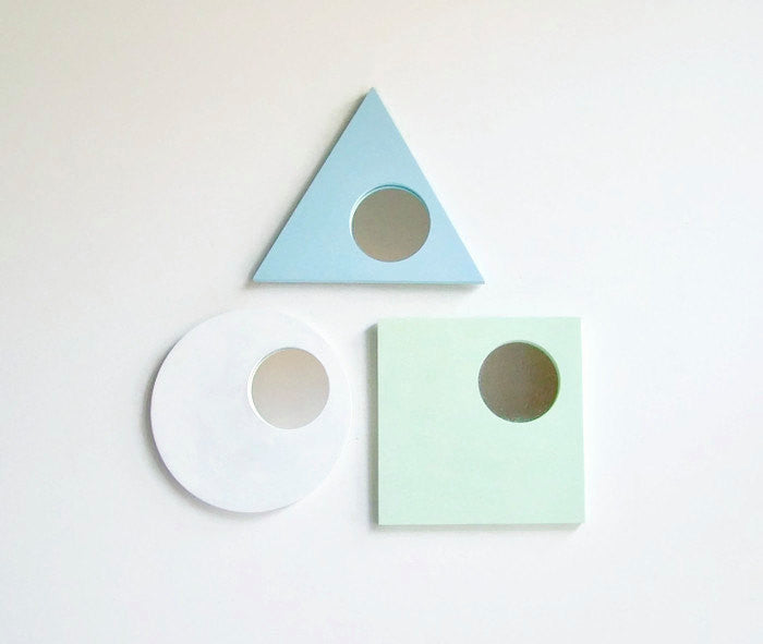 Geometric Wall Mirrors - Pastel Decorative Mirrors, Set of 3