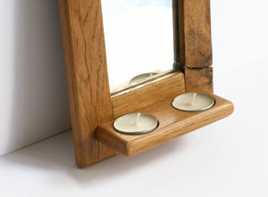 Arched Gothic Oak Mirror with Candle Holder Shelf
