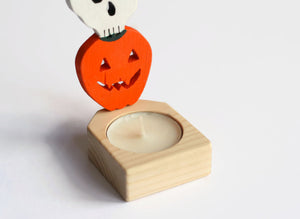 Owl, Skull and Pumpkin - Halloween Candle Holder