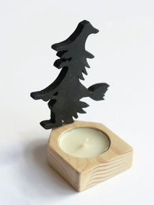 Witch and Broom Candle Holder - Halloween Candle Holder