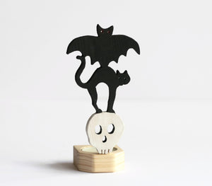 Halloween Candle Holder - Bat, Cat and Skull Candle
