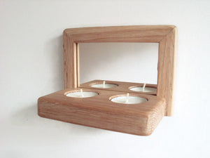 Reclaimed Wood Mirror - Oak Candle Holder