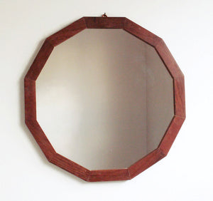 Geometric Mahogany Wall Mirror