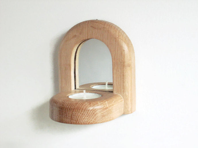 Oak Wood Candle Holder Mirror
