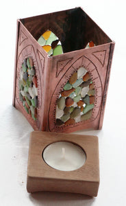 Copper & Sea Glass Lantern - Sun Catcher Candle Holder