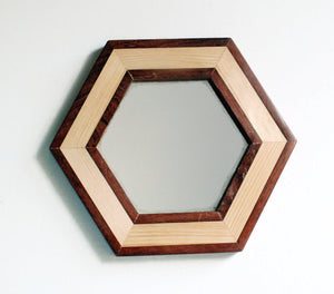 Hexagon Wood Mirror