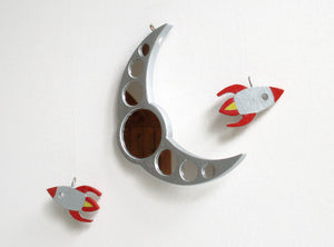 Rocket and Moon Mirror - Boy's Bedroom Decor