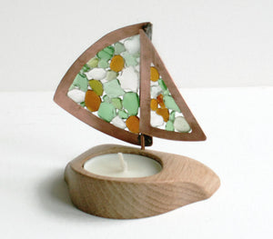 Sea Glass Boat Candle Holder