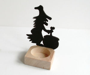 Witch and Caldron - Halloween Candle Holder