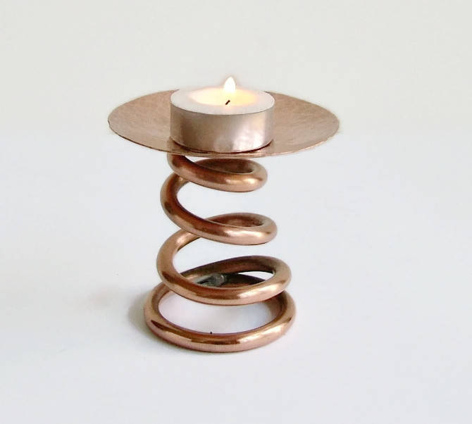 Copper Spiral Candle Holder