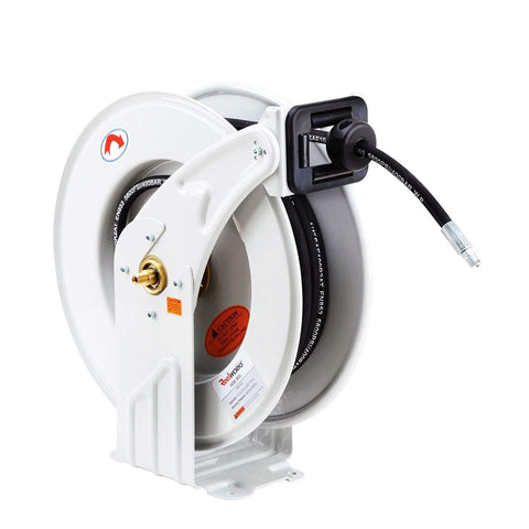 "REELWORKS Oil Hose Reel Retractable 1/2"" x 50' Feet ELITE Long Premium Commercial SAE.100R1AT Hose MAX 2320 PSI Spring Driven Steel Construction Heavy Duty Industrial Dual Arm & Pedestal - Great Circle USA"