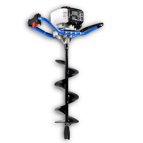 "Landworks Earth Auger Power Head Heavy Duty 3HP 52cc 2 Stroke Gas Engine w/Steel 8""x30"" Bit w/Fishtail One Man Post Hole Digger for Planting, Earth Burrowing/Drilling & Fences EPA/CARB Compliant - Great Circle USA"
