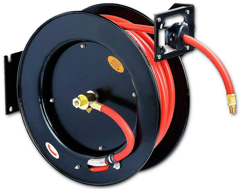 "REELWORKS Air-Hose-Reel Retractable 3/8"" x 50' ft Spring Driven Steel Construction Heavy Duty Industrial Max 300 PSI Premium Commercial Flex Hybrid Polymer Hose"