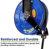 "GOODYEAR Oil Hose Reel Retractable Spring Driven Steel Construction Elite Heavy Duty Industrial Dual Arm and Pedestal 1/2"" Inch x 50' Feet Long Premium Commercial SAE.100R1AT Hose Max 2320 psi"