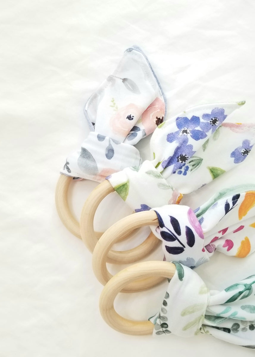 frolic and fawn floral wooden teething rings